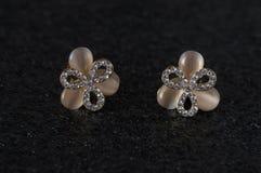 Belles boucles d'oreille avec des pierres Agrafes et boucles d'oreille de bijoux Boucles d'oreille sensibles Images libres de droits