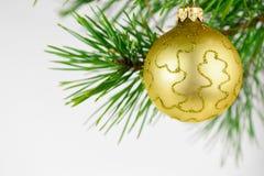 Belles boules de Noël sur un fond blanc Photos stock