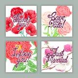 Belles cartes de vacances avec des fleurs illustration stock