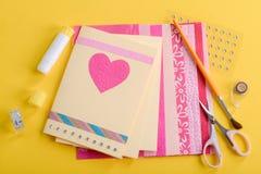 Belles cartes faites main de Saint-Valentin photographie stock libre de droits