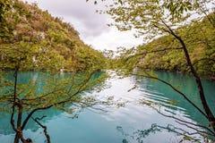 Belles cascades dans des lacs parc national, Croatie Plitvice photos libres de droits