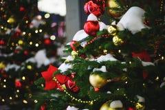 Belles décorations du décor et du Noël-arbre de nouvelle année sur les sapins de fête photographie stock libre de droits