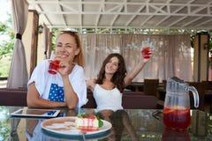 Belles dames heureuses avec des sourires mignons posant tout en détendant dans le café confortable après marche pendant le temps  Photos stock