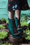 Belles et élégantes chaussures du ` s de femmes sur des jambes du ` s de femmes Image libre de droits