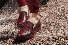 Belles et élégantes chaussures du ` s de femmes sur des jambes du ` s de femmes Photographie stock libre de droits