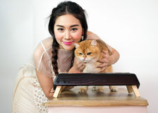 Belles femmes avec des chats et des aliments pour chats Photographie stock