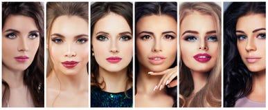 Belles femmes avec le maquillage parfait Collage de beauté, visages mignons images libres de droits