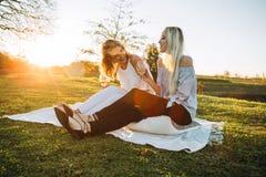 Belles femmes buvant du vin en parc Image stock
