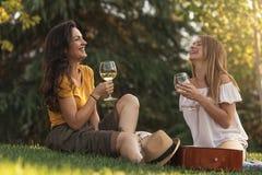 Belles femmes buvant du vin en parc Photographie stock