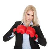 Belles femmes d'affaires posant avec des gants de boxe Image stock