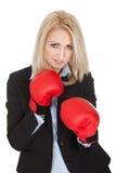 Belles femmes d'affaires posant avec des gants de boxe Photos libres de droits