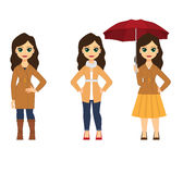 Belles femmes dans des vêtements d'automne Image stock