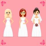 Belles femmes dans la robe de la jeune mariée Photos stock
