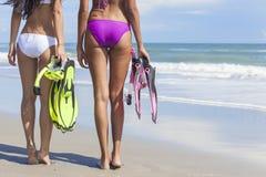 Belles femmes de bikini de vue arrière à la plage Image libre de droits