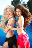 Belles femmes sexy posant dans le maillot de bain Modèles de bikini avec longtemps photos stock