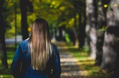 Belles femmes tenant l'automne extérieur image libre de droits