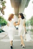 Belles filles asiatiques avec des paniers marchant sur la rue au Th Photos libres de droits
