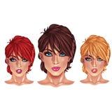 Belles filles avec des coupes de cheveux courtes Image stock