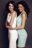 Belles filles avec du charme avec les cheveux foncés dans des robes élégantes Photo stock