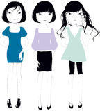 Belles filles avec le cheveu noir Photo stock