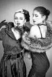Belles filles de mode sur le fond gris image stock