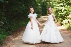 Belles filles heureuses avec les robes les épousant blanches images libres de droits