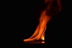 Belles flammes du feu sur le fond noir image stock