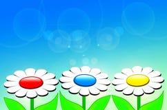 Belles fleurs de source dans 3D Photo libre de droits