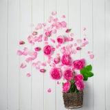 Belles fleurs fraîches de ranunculus sur le fond en bois photos stock