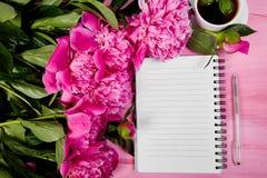 Belles fleurs roses de pivoine avec la note Images libres de droits