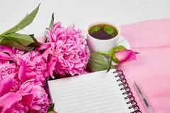 Belles fleurs roses de pivoine avec la note Image libre de droits