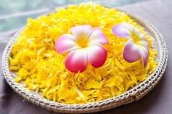 Belles fleurs roses et jaunes sur le panier en bambou Photo stock