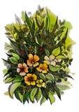Belles fleurs sauvages de différentes tailles Photographie stock