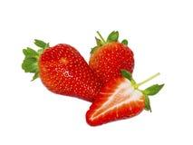 Belles fraises d'isolement sur le fond blanc Photographie stock libre de droits