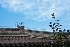 Belles gouttières chinoises avec le dragon et d'autres sculptures symboliques en tuile Photos libres de droits