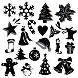 Belles icônes de Noël dans la conception monochrome d'isolement sur le fond blanc Photo libre de droits