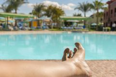 Belles jambes bronzées Plan rapproché des jambes femelles avec une piscine sur le fond belles jambes femelles sur le fond de photos libres de droits
