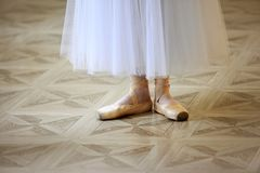Belles jambes de danseur dans le pointe Images libres de droits