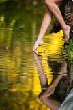 Belles jambes de femme dans l'eau dans la forêt. conte de fées Image stock