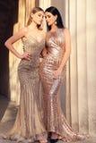 Belles jeunes femmes avec les cheveux foncés dans le dresse luxueux de soirée Image libre de droits