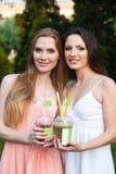 Belles jeunes filles dans des robes buvant du jus dans le jardin Photographie stock