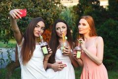 Belles jeunes filles dans des robes buvant du jus dans le jardin Photo libre de droits