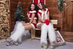 Belles jeunes filles de jeune fille de neige Photographie stock libre de droits