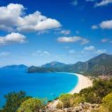 Belles lagune et plage bleues dans Oludeniz, Turquie Photographie stock