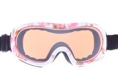 Belles lunettes de ski avec le tatoo de fleurs Photo libre de droits