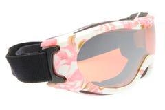 Belles lunettes de ski avec le tatoo de fleurs Photos libres de droits