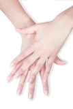 Belles mains croisées avec la manucure image libre de droits
