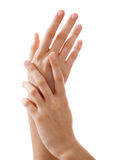 Belles mains de femme avec la manucure française Image libre de droits