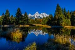 Belles montagnes couronnées de neige à l'atterrissage de Schwabacher en défunt automne image stock
