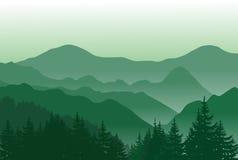 Belles montagnes vertes Paysage d'ÉTÉ Illustration Stock